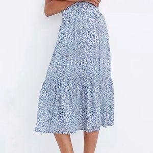 Madewell Tiered Peasant skirt blue cream size XXL